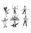 retro circus performance set sketch vector image vector image