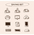 Save and store data symbols set vector image