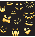 Seamless background with halloween faces vector image