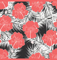 seamless tropical pattern with white leaves vector image