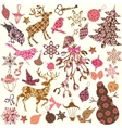 set christmas silhouettes patches for scrap vector image vector image