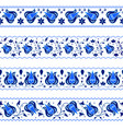 set decorative borders in traditional russian vector image