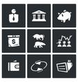 set exchange icons broker bank piggy vector image vector image