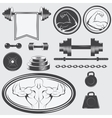 Set of vintage gym equipment and design elements vector image vector image