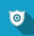 shield with gear icon isolated with long shadow vector image vector image