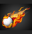 shooting volleyball with flame on black background vector image vector image