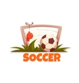 Soccer banner with football ball and goal vector image vector image