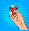 spinner in hand pop art vector image vector image