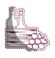 sticker line bottles wine and grape icon vector image vector image