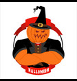 strong pumpkin for halloween powerful vegetable vector image vector image