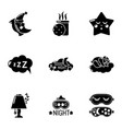 sweet sleep icons set simple style vector image