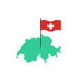 switzerland map and flag swiss state sign vector image vector image