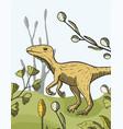 theropod dinosaur card vector image
