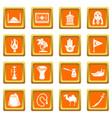 turkey travel icons set orange square vector image vector image