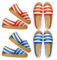 watercolor striped red and blue espadrilles vector image
