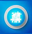 white piece of puzzle icon on blue background vector image vector image