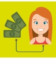 woman with money isolated icon design vector image