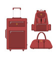 travel suitcase bag and backpack vector image