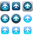 Aircraft blue app icons vector image