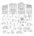 set sketch urban street in the vector image
