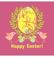 Easter card with eggs flowers and birds vector image