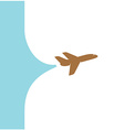 Flying plane with banner space from tail Design vector image