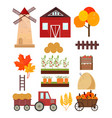 autumn set mill tractor pumpkins harvest tools vector image vector image