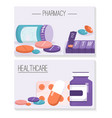 banners set pharmacy and healthcare concept vector image