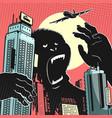 big gorilla monster in center city vector image