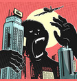 big gorilla monster in the center of the city vector image vector image