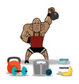 bodybuilder fitness man weight kettlebell vector image