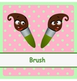Brush funny characters on a pink background vector image