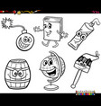 cartoon object characters set coloring book page vector image