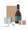 christmas gifts greeting card and champagne vector image vector image