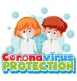 coronavirus poster design with sick children vector image vector image