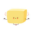 cute funny butter meditate in yoga pose vector image vector image