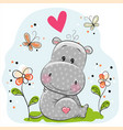cute hippo with flowers and butterflies vector image vector image