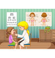 Doctor checking up little girl in clinic vector image vector image