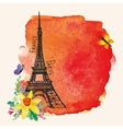 Eiffel towerWatercolor spotNarcissus bouquet vector image vector image