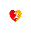 electric heart icon logo design element vector image