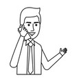 elegant businessman with smartphone avatar vector image
