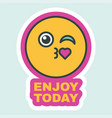 enjoy your day creative sticker flat design vector image vector image