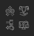 feminism chalk white icons set on black background vector image