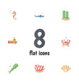 flat icon marine set of seaweed conch vector image vector image