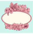 Frame with vintage flowers on teal background vector image vector image