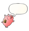 funny cartoon pig and speech bubble in smooth vector image vector image