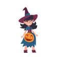 girl witch standing with bag made pumpkin vector image vector image