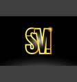 gold black alphabet letter sm s m logo vector image vector image