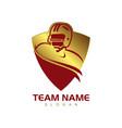 gold shield american football vector image vector image