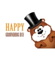Groundhog Day greeting card with cheerful marmot vector image vector image